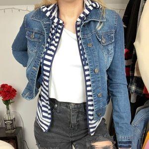 kohl's layered striped jean jacket